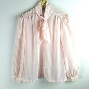 Vintage Satin Pink Blouse with Bow sz M
